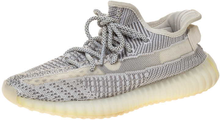 Yeezy x Adidas Grey/White Cotton Knit Boost 350 V2 Static Non-Reflective Sneakers Size 40