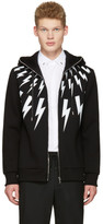 Neil Barrett Black Multi Thunderbolt Hoodie