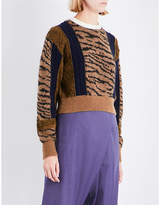 Toga Ladies Beige Embroidered Classic Tiger-Embroidered Wool-Blend Jumper