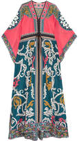 Mary Katrantzou Asso Printed Cotton And Silk-blend Maxi Dress - Teal