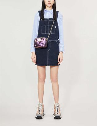 BAPE Square-neck denim dungaree dress