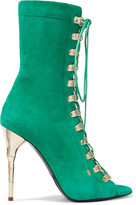 Balmain Lace-up Suede Sandals - Green
