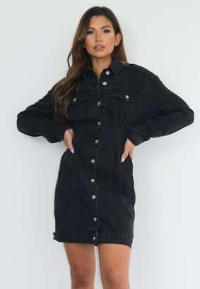 Missguided Petite Black Cinched Waist Denim Dress