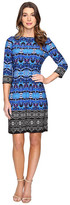 London Times Twin Garland Long Sleeve Shift Dress