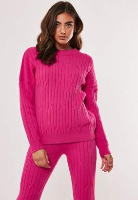 Missguided Raspberry Co Ord Cable Crew Knit Sweater