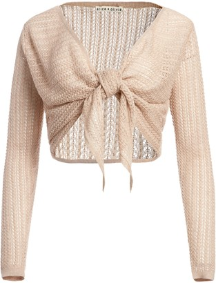 Alice + Olivia Fergie Tie Front Cropped Cardigan