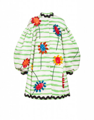 Moschino Duchesse Coat Flowers And Stripes Woman Multicoloured Size 42 It - (8 Us)
