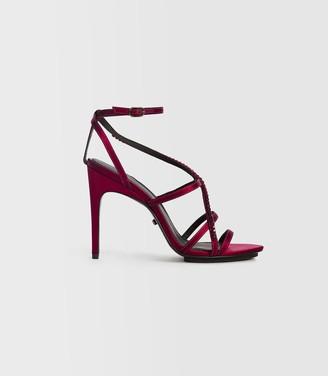 Reiss Dana Jewel - Jewelled Strappy Sandals in Raspberry