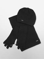 Calvin Klein Waffle Knit Hat, Gloves + Scarf Set