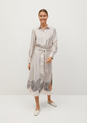 MANGO Printed shirt dress off white - 2 - Women