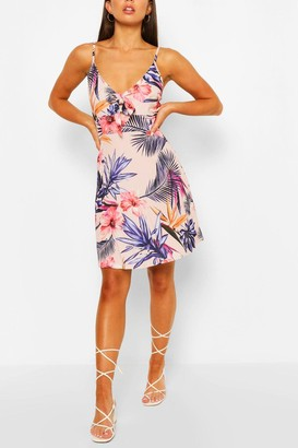 boohoo Floral Print Strappy Bow Detail Sundress