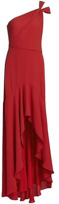Halston Leah One-Shoulder Twist High-Low Gown
