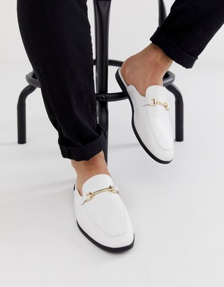 ASOS DESIGN backless mule loafer in white faux leather