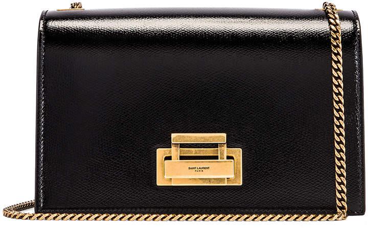 Saint Laurent Fermoir Art Deco Leather Crossbody Chain Bag in Black | FWRD