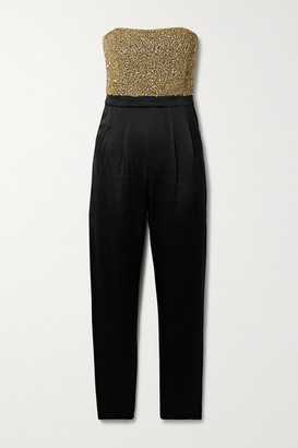 Alice + Olivia Jeri Strapless Embellished Duchesse-satin Jumpsuit - Black