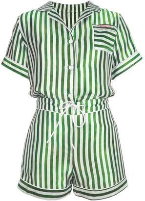 Not Just Pajama Striped Silk Short Pyjamas Set