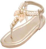Generic Girls Kids T-Strap Sandals Pearl Bowknot Peep Toe Beach Flip-flops
