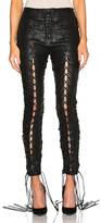 Unravel Lace Up Leather Pants in Black.
