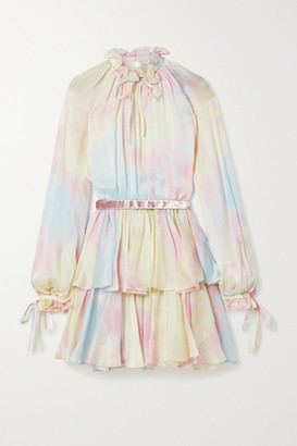 RALPH & RUSSO Ruffled Tiered Tie-dyed Silk-chiffon Mini Dress - Pink