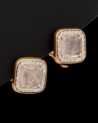 Italian Gold 14K Rose Gold 4.70 Ct. Tw. Diamond & Pink Quartz Clip Earrings