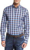 Neiman Marcus Plaid Cotton Sport Shirt, Blue/Brown