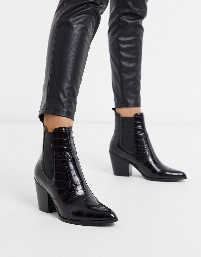 black croc effect ankle boots
