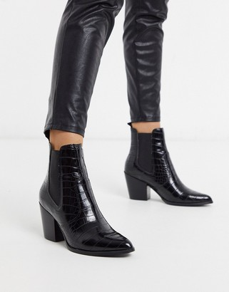 Steve Madden Patricia mid heeled ankle boots in black croc