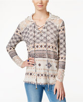 American Rag Printed Lace-Inset Hoodie, Only at Macy's