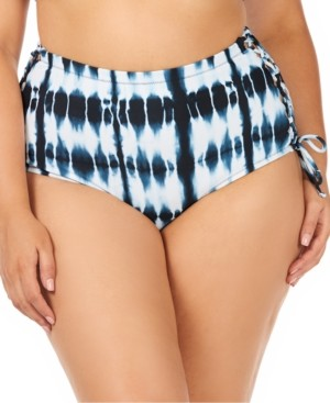Raisins Curve Trendy Plus Size Juniors Fiji Printed North Shore High-Waist Tummy Control Bottoms Women's Swimsuit