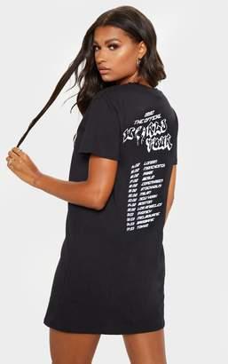 PrettyLittleThing Black World Tour Black Print Oversized T Shirt Dress