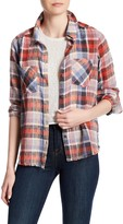 Melrose and Market Raw Hem Boyfriend Plaid Shirt
