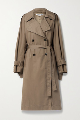 Acne Studios net Sustain Belted Double-breasted Organic Cotton-blend Gabardine Trench Coat - Light brown