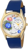 Whimsical Watches Women's C0910009 Classic Gold Birthstone: September Royal Blue Leather And Goldtone Watch