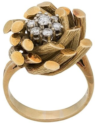 Katheleys Vintage 1970s 18kt gold and diamond Gubelin bamboo ring