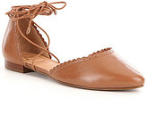 Jack Rogers Camille Leather Scalloped Detail Lace-Up Flats