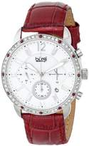 Burgi Women's BUR089BUR Silver Chronograph Quartz Watch with White Mother of Pearl and White Dial With Wine Leather Strap