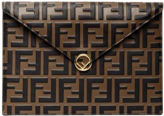 Fendi Brown and Black Forever Embossed Envelope Pouch