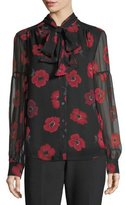 Kate Spade Long-Sleeve Tie-Neck Poppy Chiffon Silk Blouse
