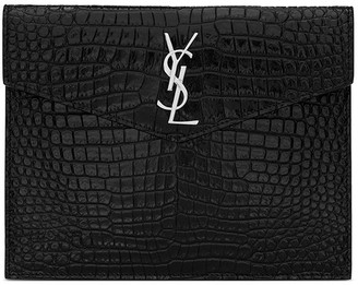 Saint Laurent Uptown Baby Pouch In Shiny Crocodile-Embossed Leather