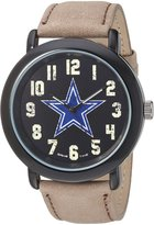 Game Time Men's 'Throwback' Quartz Metal and Leather Casual Watch, Color:Beige (Model: NFL-TBK-DAL)