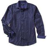 Bugatchi Classic-Fit Jacquard Printed Long-Sleeve Woven Shirt