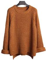 ARJOSA Women's Cable Knit Crewneck Flare Sleeves Casual Pullover Sweater (, Brown)