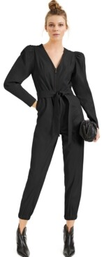 INC International Concepts Culpos X Inc Puff-Sleeve Faux-Leather Jumpsuit, Created for Macy's