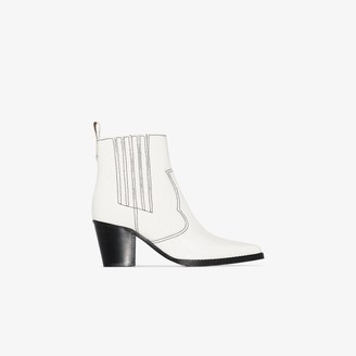 Ganni white 60 Western mock croc leather ankle boots