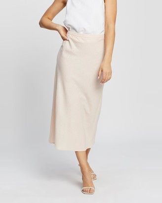 Nude Lucy Women's Pink Midi Skirts - Miles Linen Midi Skirt - Size M at The Iconic