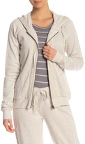 PJ Salvage Cable Knit Trim Zip Front Hoodie