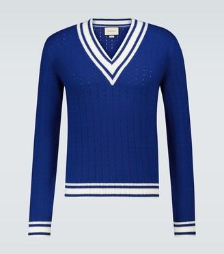 Gucci Striped V-neck sweater