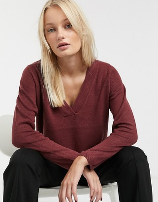 Only long sleeve v neck pullover knit jumper-Red