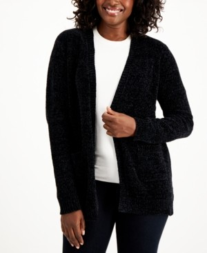 Karen Scott Plus Size Chenille Front-Pocket Cardigan, Created for Macy's