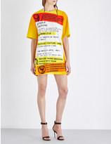 Moschino Warning-print oversized crepe mini dress